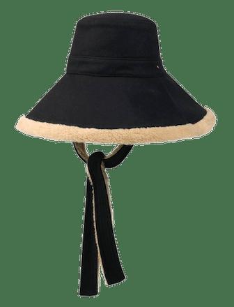 Wool and Eco Fur Wide Brim Hat