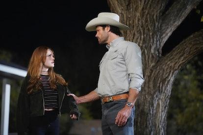 Jared Padalecki as Cordell Walker and Violet Brinson as Stella Walker in 'Walker' via Viacom Press Site