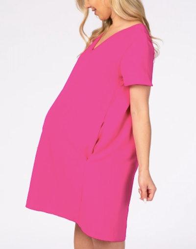 Pink V-Neck Short Sleeve Maternity Dress