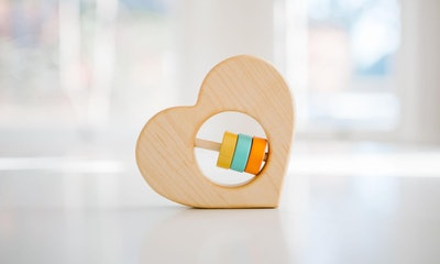 BannorToys Heart Shaped Wooden Rattle