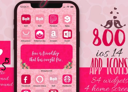 Pink Hearts Valentine's Day iOS 14 Home Screen Pack