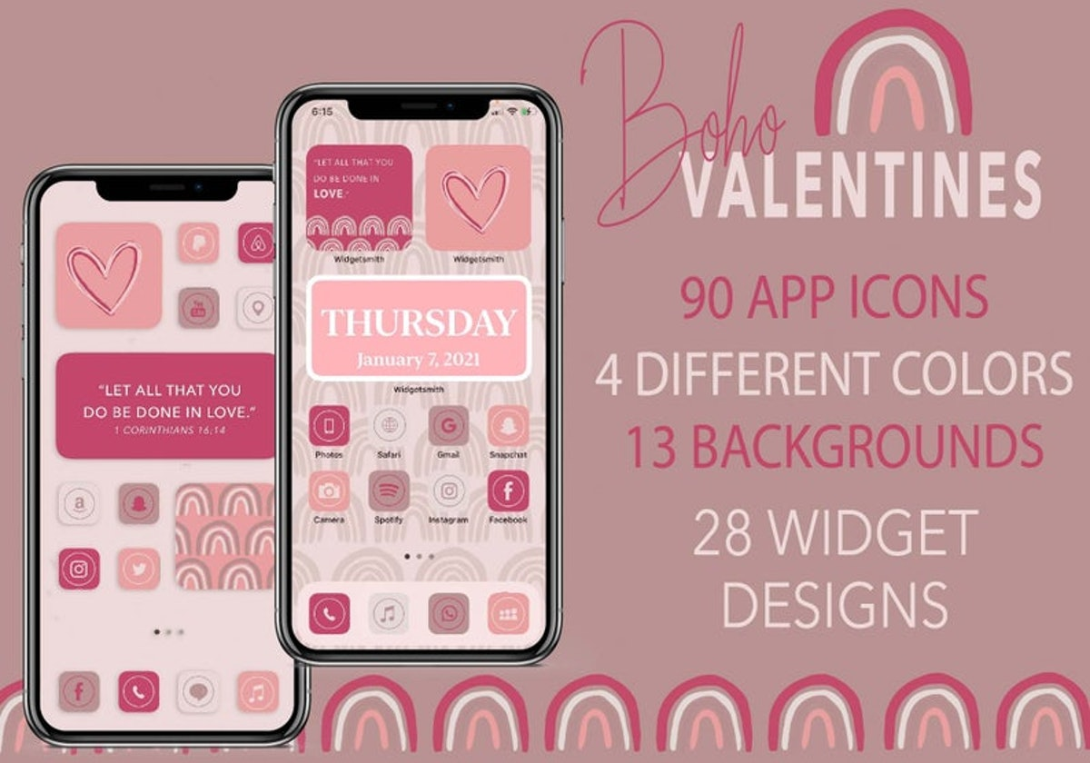 Pinks & Purples Valentine's Day iOS 14 Home Screen Pack