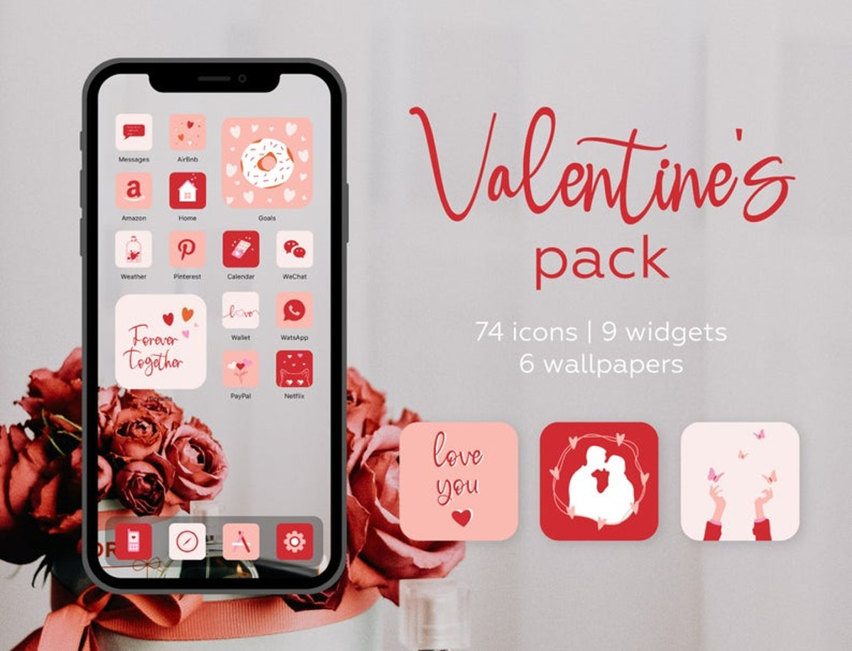 Red Roses Valentine's Day iOS 14 Home Screen Pack
