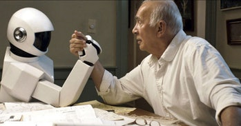 Langella and the two actors portraying Robot have terrific chemistry