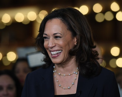 Kamala Harris wearing pearls at the First Democratic Presidential Debate in 2019