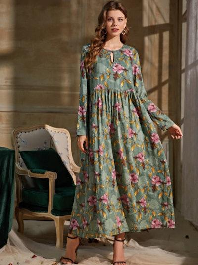 Flower Print Babydoll Dress