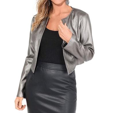 KRISP Faux-Leather Cropped Bolero Jacket