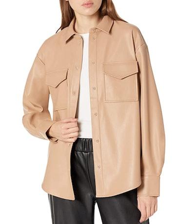 The Drop Faux-Leather Long Shirt Jacket