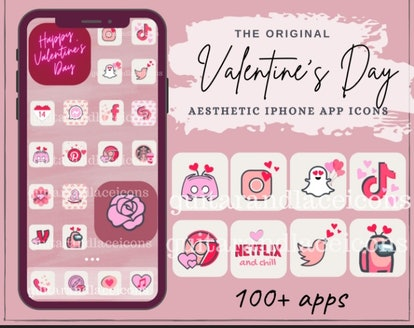 Valentine's Day Aesthetic iOS 14 Home Screen Pack