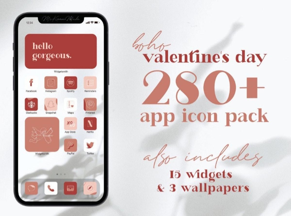 Boho Valentine's Day iOS 14 Home Screen Pack