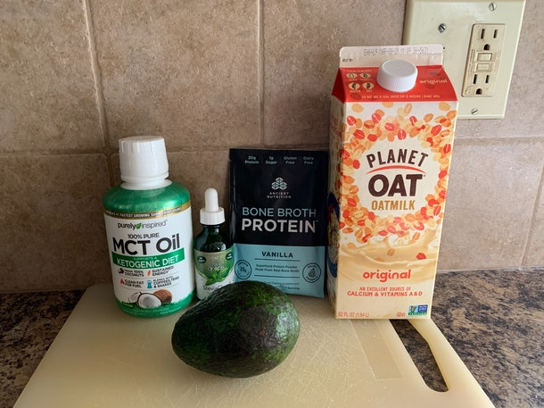 The ingredients for Kourtney Kardashian's avocado smoothie recipe.