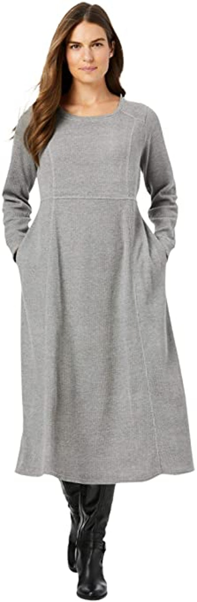Woman Within Plus Size Thermal Knit A-Line Dress