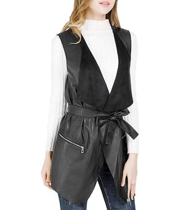 DIASHINY Sleeveless Faux-Leather Long Vest