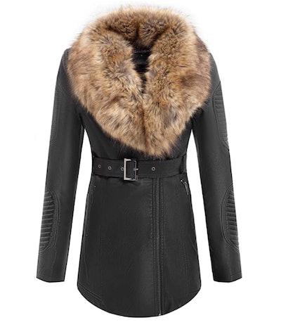 Bellivera Faux-Leather Long Jacket with Detachable Faux-Fur Collar