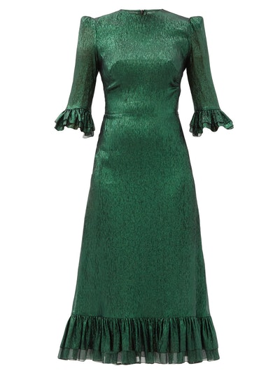 The Vampire's Wife The Falconetti Ruffled Metallic-Silk Blend Dress