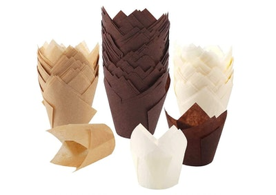 BAKHUK Tulip Cupcake Baking Cups (200 Count)