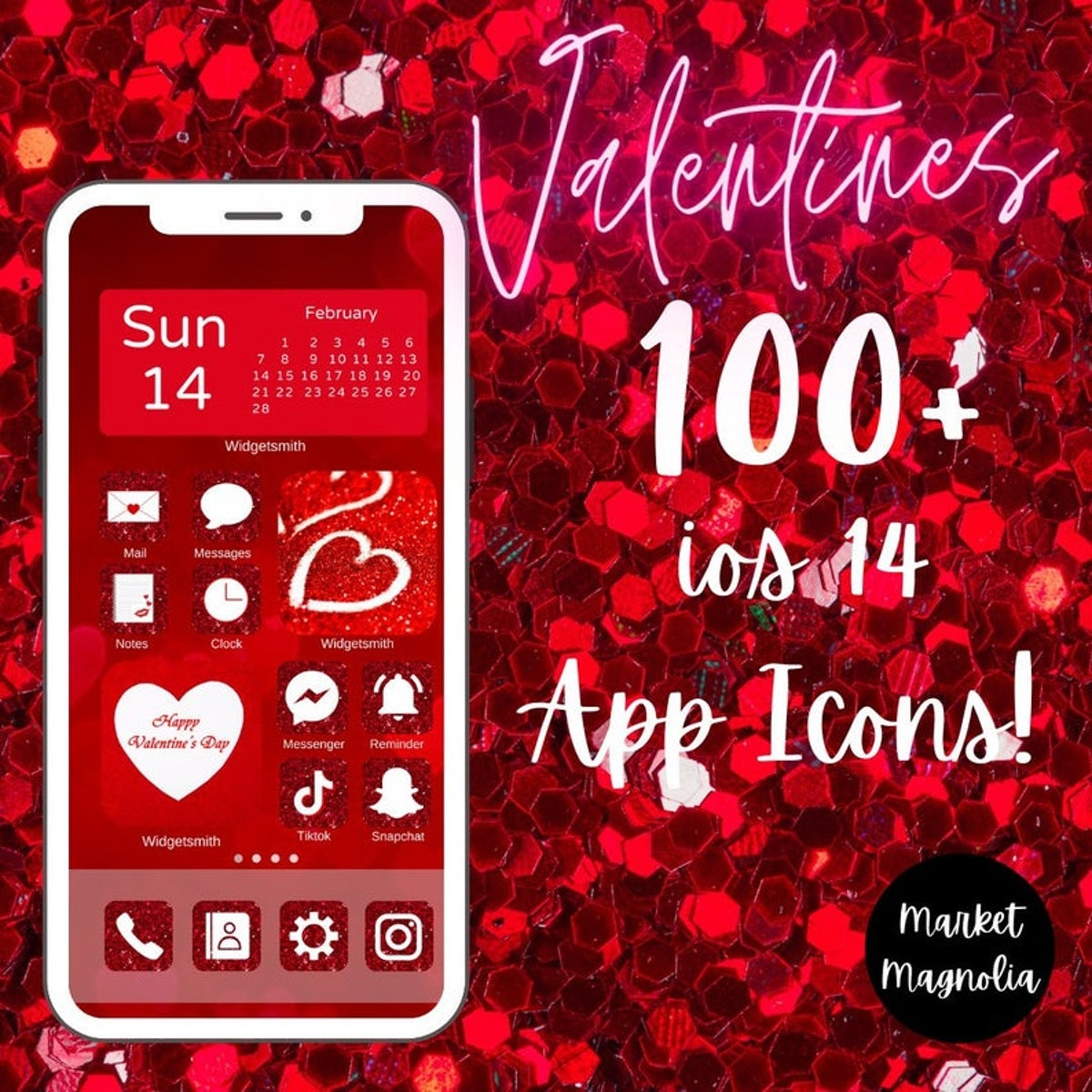 Red Glitter Valentine's Day iOS 1 Home Screen Pack