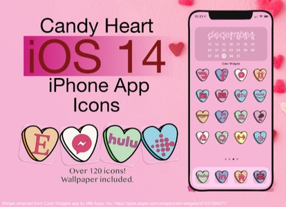 Candy Hearts Cute Aesthetic iOS 14  Home Screen Pack