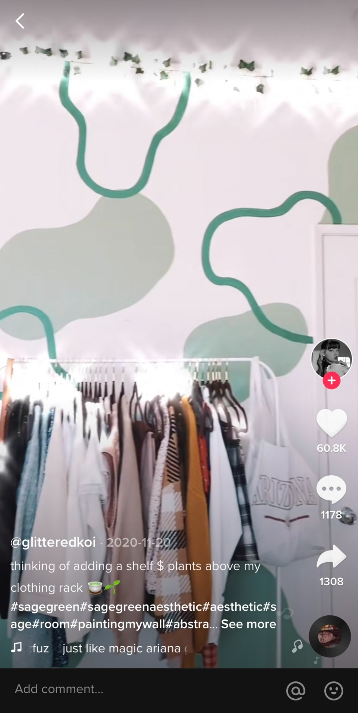 A TikTok user paints sage and forest green designs on their bedroom walls.