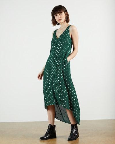 Printaa Neck Waterfall Midi Dress