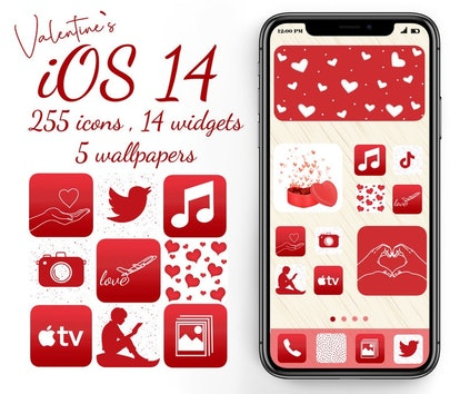 Red & White Valentine's Day Aesthetic iOS 14 Home Screen Pack