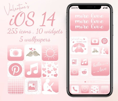 Pink Valentine's Day iOS 14 Home Screen Idea