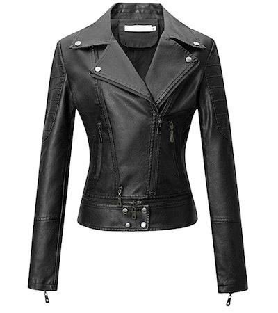 Tanming Faux-Leather Moto Biker Jacket
