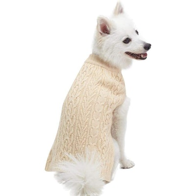 Blueberry Pet Wool-Blend Cable-Knit Pullover Dog Sweater