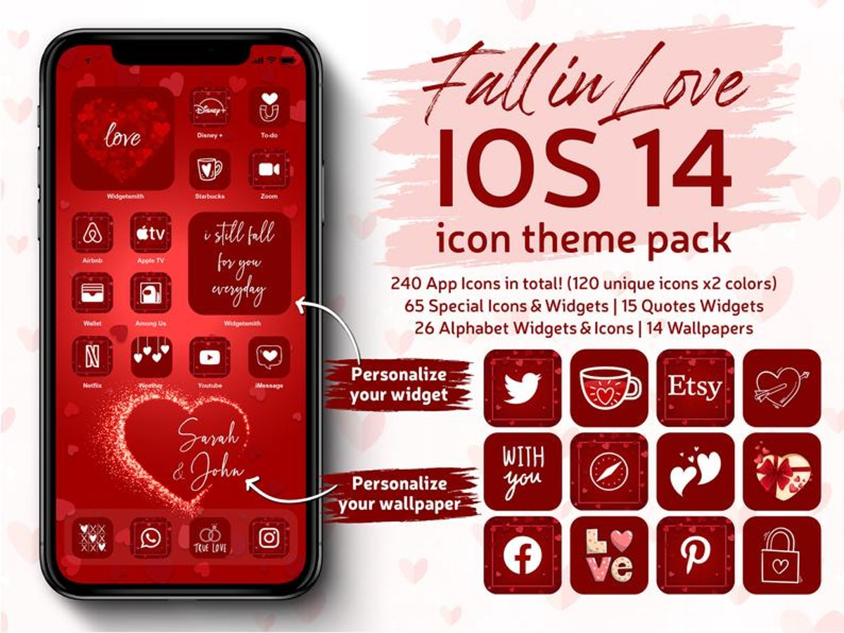 Red Aethetic iOS 14 Home Screen Pack