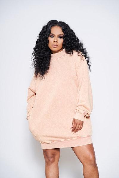 Sweater Weather Oversized Sweater/Dress (Peach)