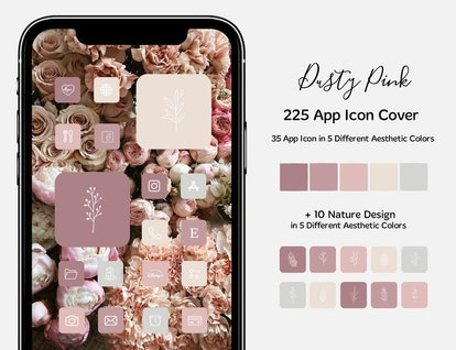Dusty Pink Roses Valentine's Day iOS 14 Home Screen Pack