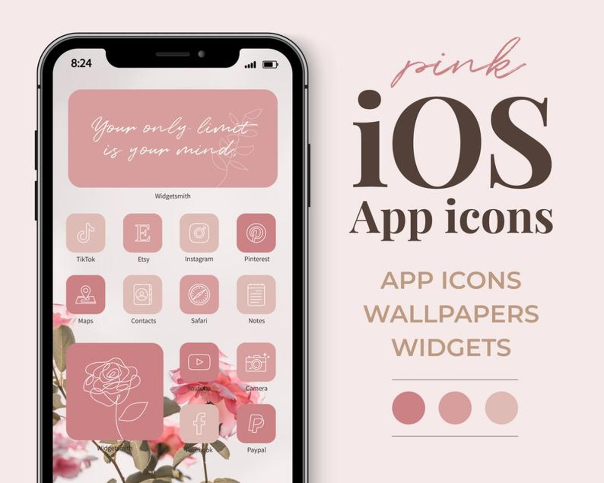 Monochromatic Pinks Valentine's Day iOS 14 Home Screen Pack