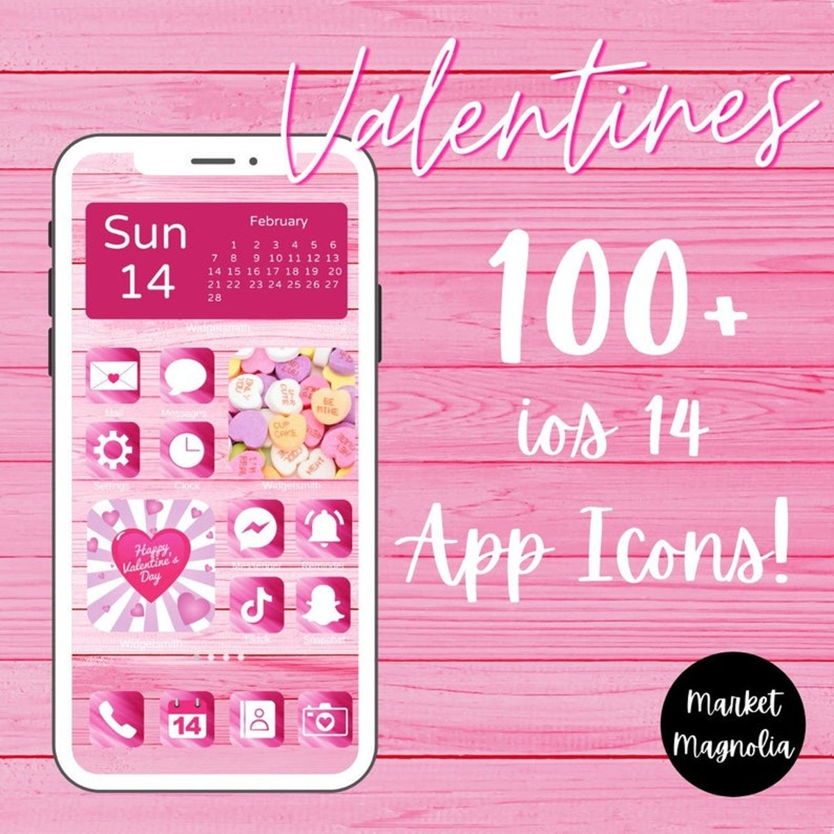 Cute Aesthetic Pink Valentine's Day iOS 14 Home Screen Design