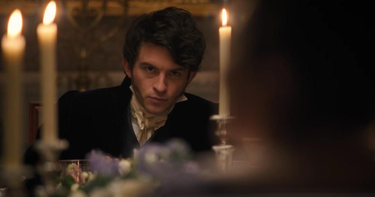 Anthony Bridgerton glares at the dinner table in 'Bridgerton.'