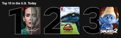 Camp Cretaceous in the top 10 of Netflix via a screenshot