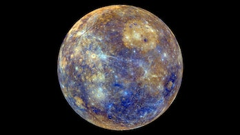 This colorful view of Mercury was produced by using images from the color base map imaging campaign during MESSENGER's primary mission.