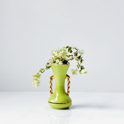 Petite Chartreuse Ceramic Bud Vase With Gold Accents