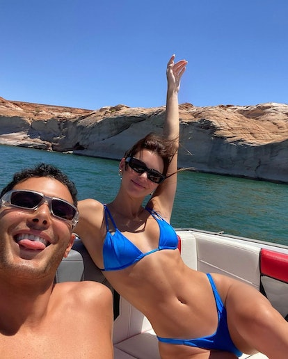 Kendall Jenner on a boat during her trip to Utah on July 5, 2020.