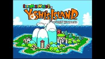 The opening screen of Yoshi's Island