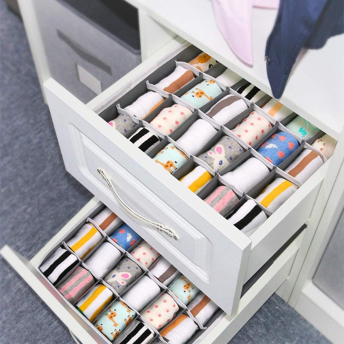 Joyoldelf Sock Drawer Organizer (2-Pack)