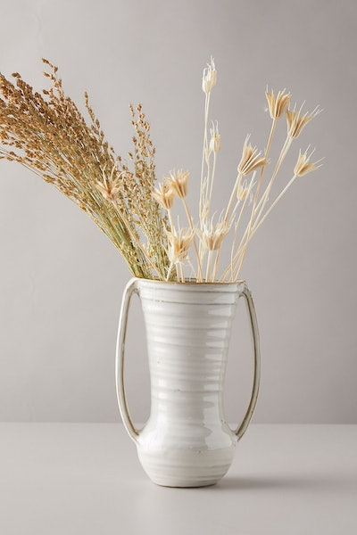 Large Vanilla Glossed Ceramic Vase