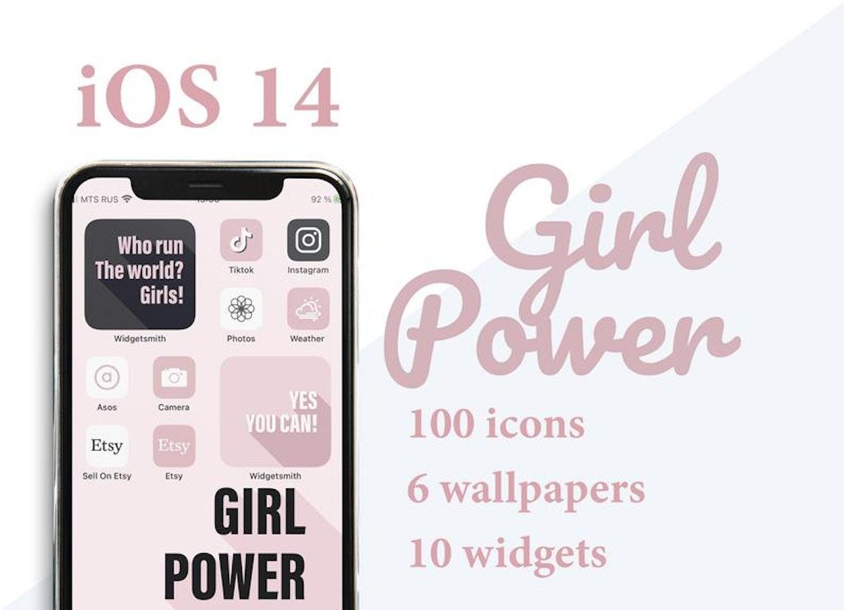 Galentine's Day Girl Power Minimalistic iOS 14 Home Screen