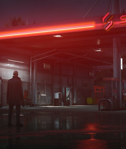 Agent 47 outside of a gas station.