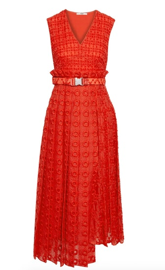 Belted Pleated Embroidered Silk Organza Midi Dress