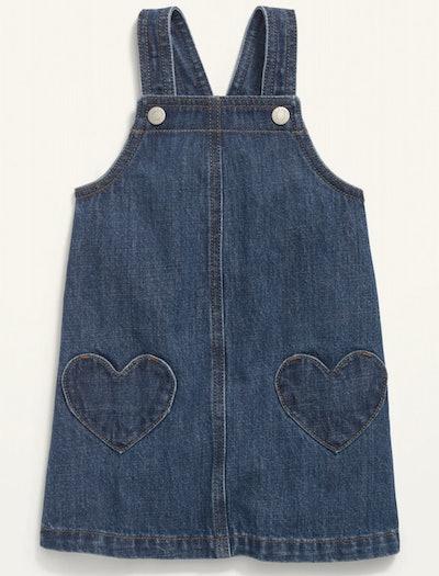 Heart-Patch Jean Skirtall for Toddler Girls