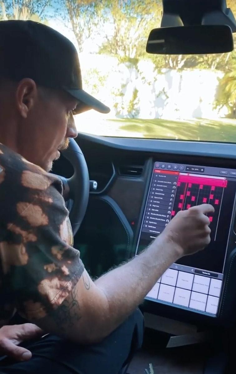 Screenshot of Diplo's Instagram reel showing off music track creation in a Tesla