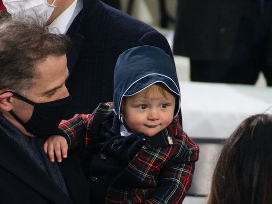 Baby Beau Biden in a bonnet at the 2021 inauguration