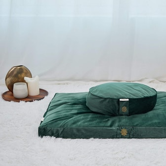 Emerald Green Luxe Velvet Meditation Pillow Set