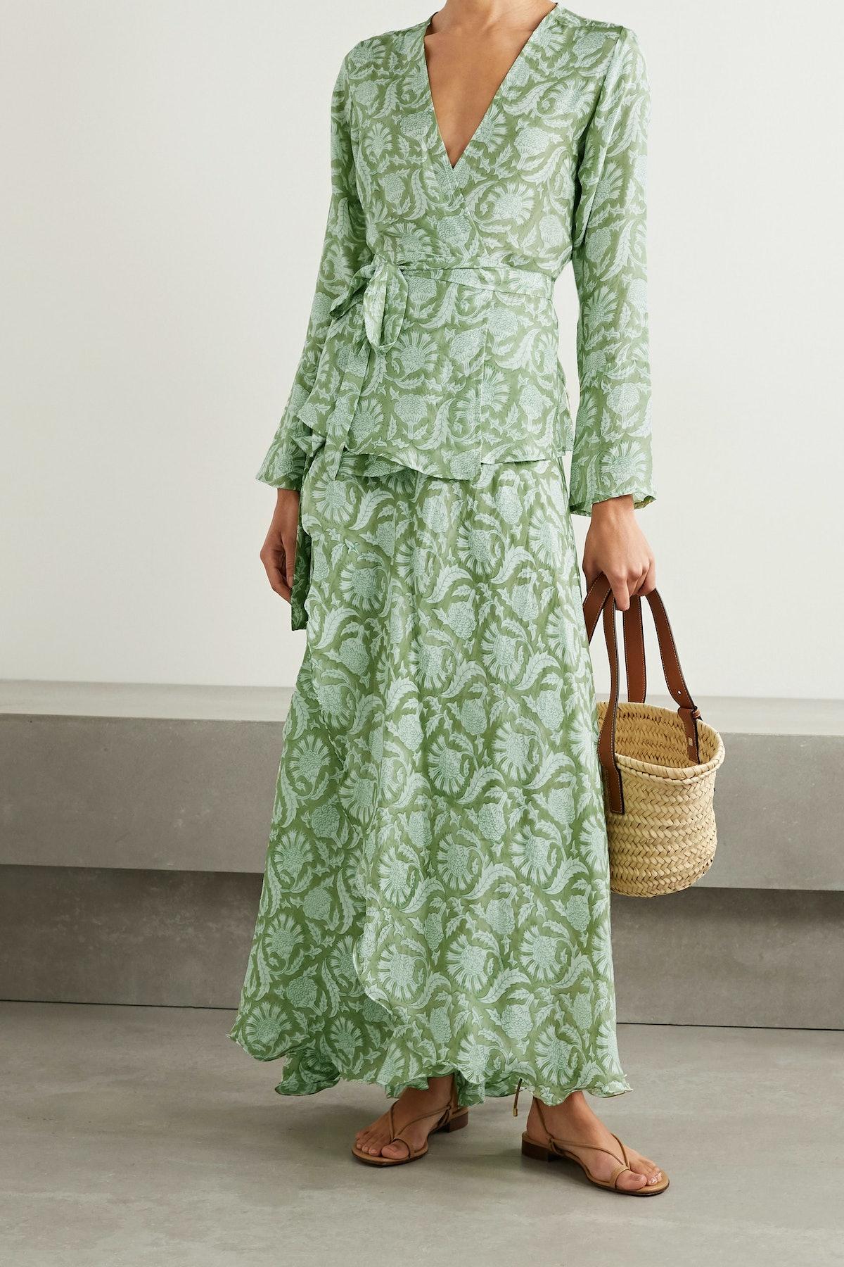 Maya Printed Silk Wrap Maxi Skirt