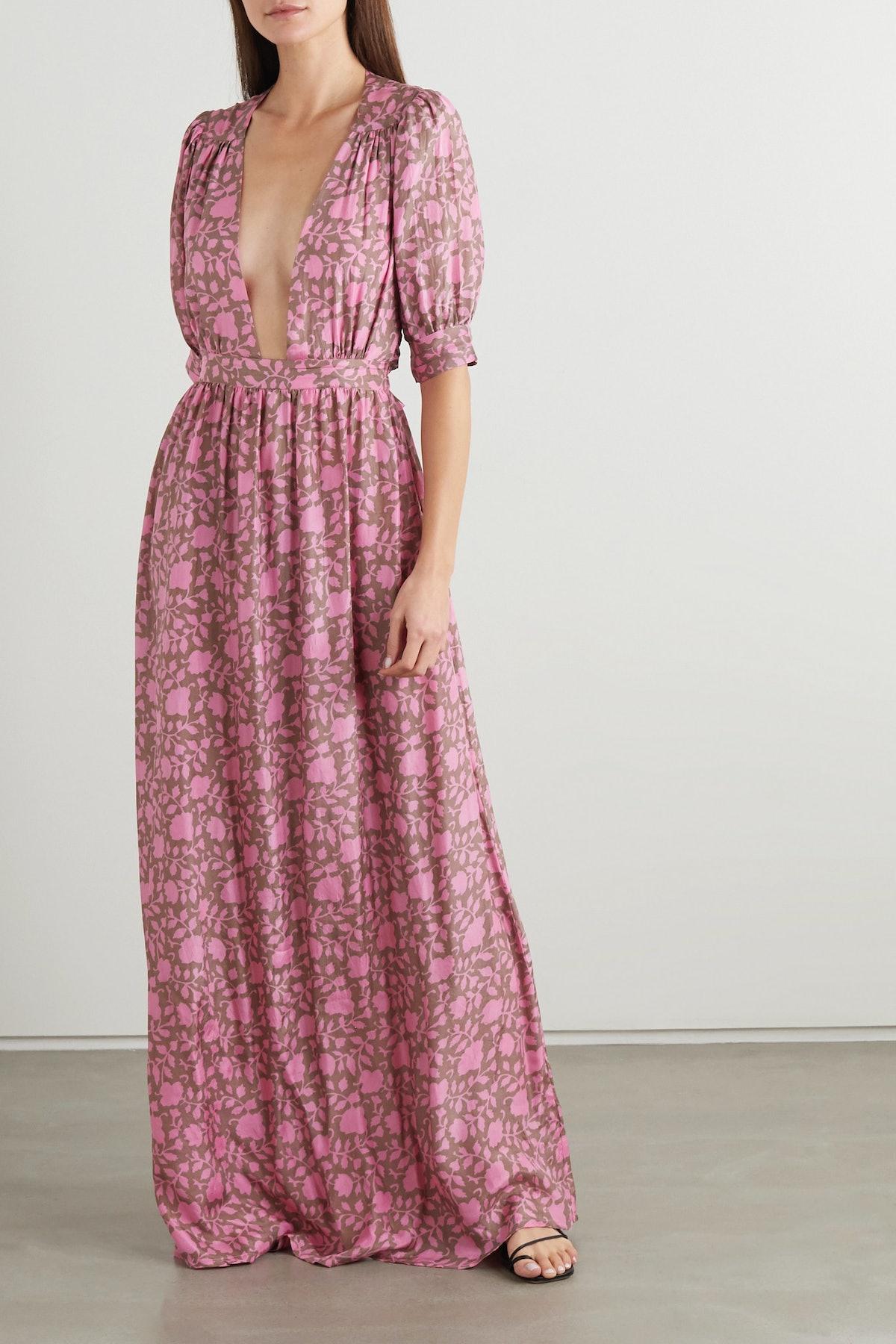 Surya Open-Back Printed Silk Maxi Dress